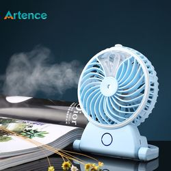 New Summer Humidifier Mini Fan USB Rechargeable Water Mist Fan With Lithium Battery Office Home Round Table Pedestal Cooling Fan