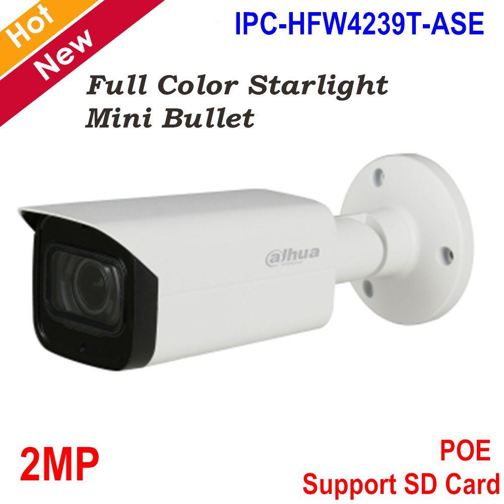 Dahua 2MP IP Kamera Volle farbe Sternenlicht Mini Kamera H.265 Unterstützung Intelligente Erkennung und POE WDR Kugel Kamera IPC-HFW4239T-ASE