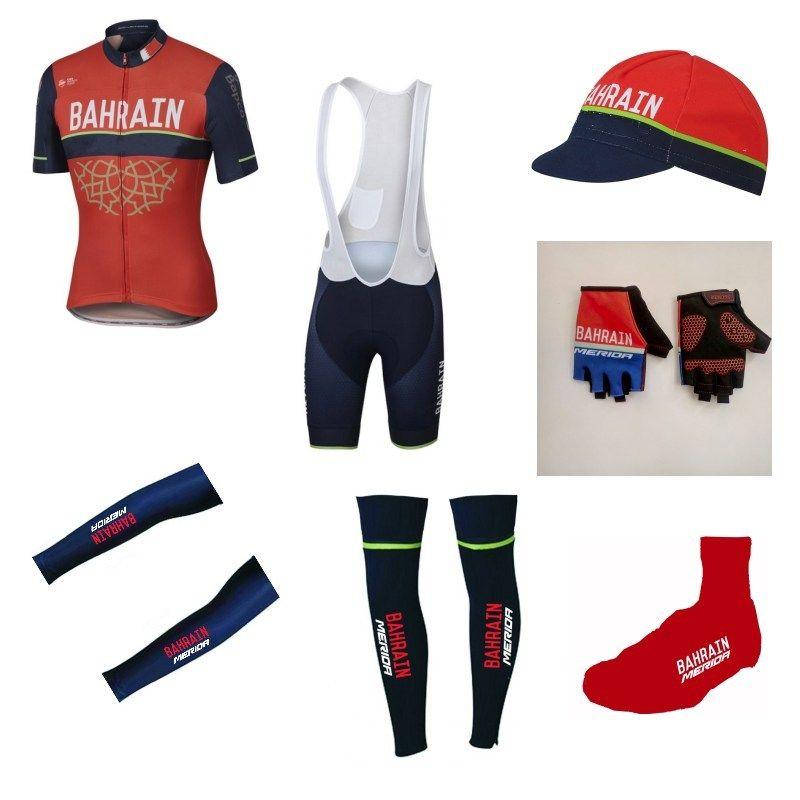 7pcs full set Team bahrain merida 2017 cycling jersey summer Short sleeve bike clothing MTB Ropa Ciclismo Bicycle maillot