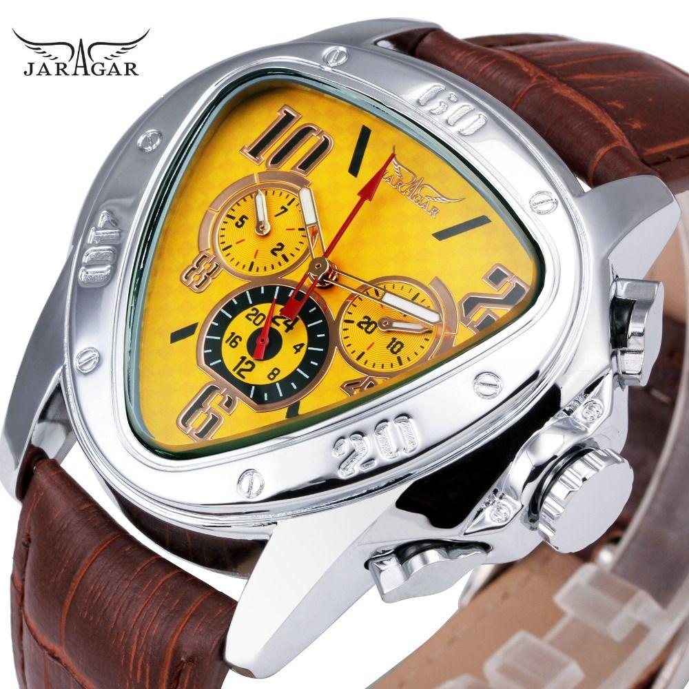 JARAGAR Fashion Sporty Men Auto Mechanical Watch Genuine Leather Strap 6 Hands 24H Date Display Triangle Case Creative Watch