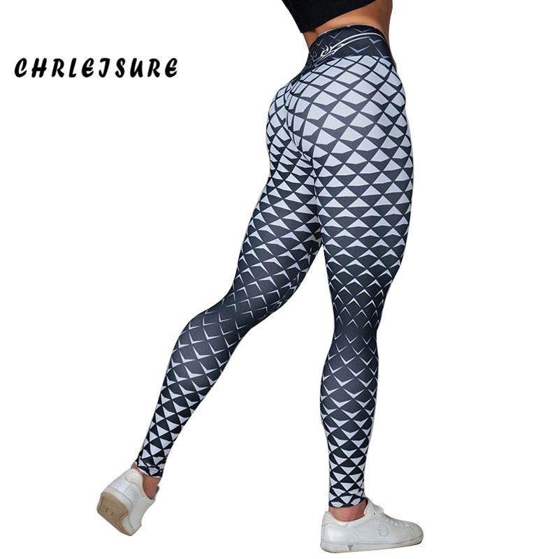 CHRLEISURE Leggings Women 2018 Fashion Casual <font><b>Grid</b></font> Print Leggings Polyester Hips High Waist Breathable Comfort Female pants