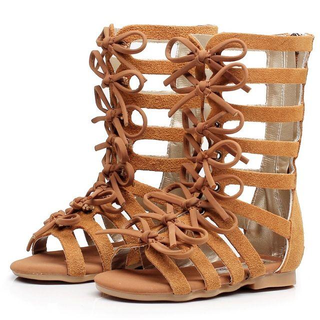 Haute-top mode Véritable d'été en cuir brun noir filles gladiateur sandales bottes Romain enfants sandales bébé bébé sandales chaussures