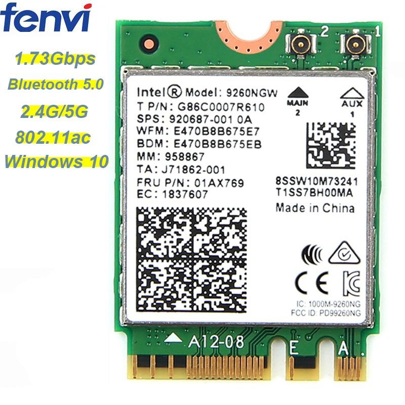 1.73 Gbps Sans Fil 9260NGW NGFF Réseau Wifi Carte Pour Intel ac 9260 2.4G/5 Ghz 802.11ac Wi-fi Bluetooth 5.0 pour Ordinateur Portable Windows 10