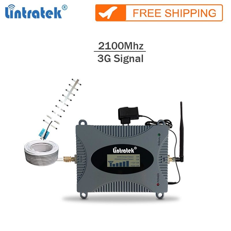 Lintratek New repeater 3g 2100Mhz celular signal booster gsm 3G mobile signal amplifier cellphone repeater full kit with LCD #65