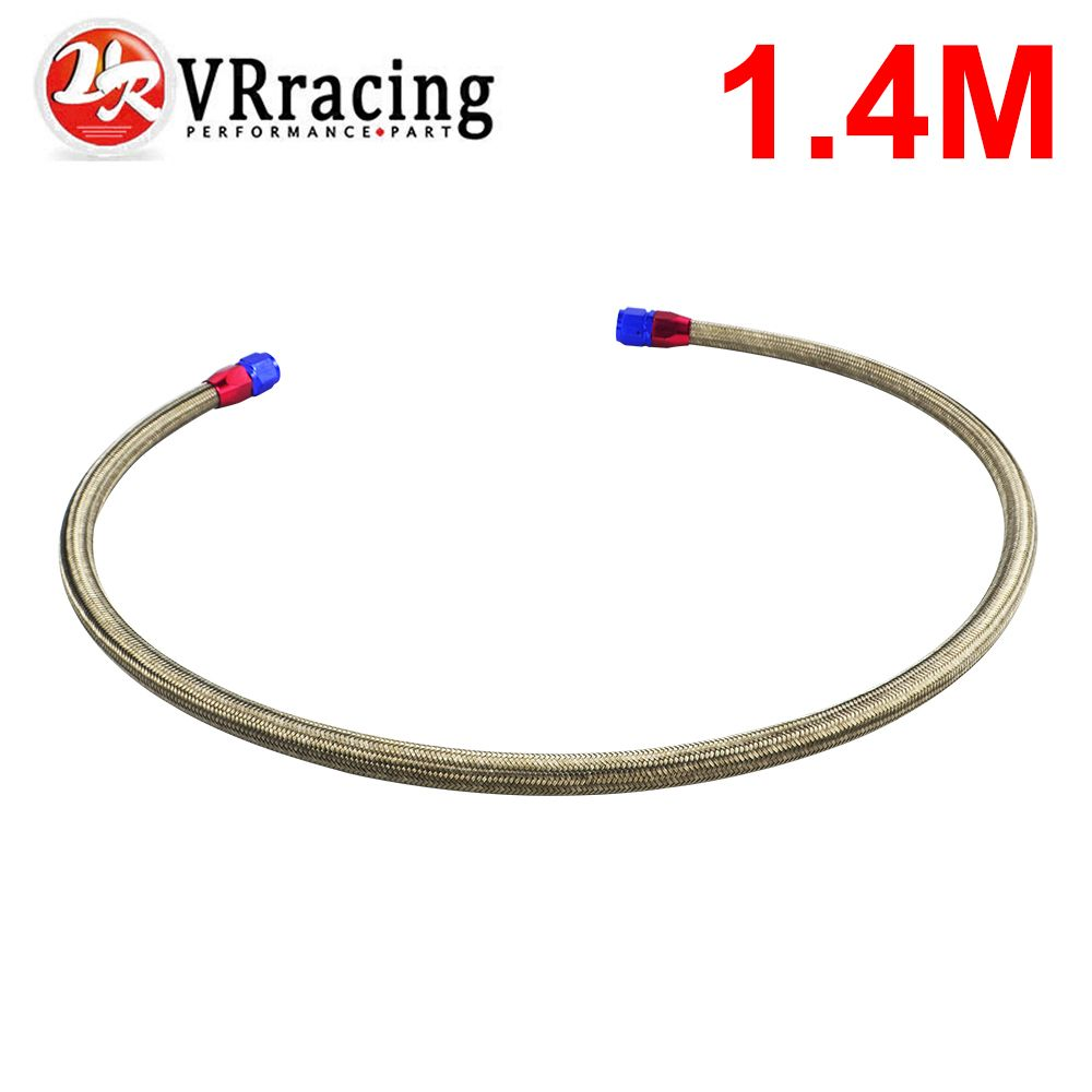 VR RACING - 1.4METER AN10 STAINLESS STEEL BRAIDED Fuel Oil Line + 2PCS AN10 STRAIGHT AN SWIVEL FITTING VR3703S
