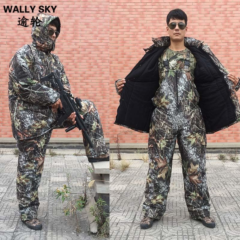 Winter Bionic Military Jungle Camo Anzüge Winddicht Thermische Baumwolle Wadded Hosen Sets Outdoor Jagd Kleidung