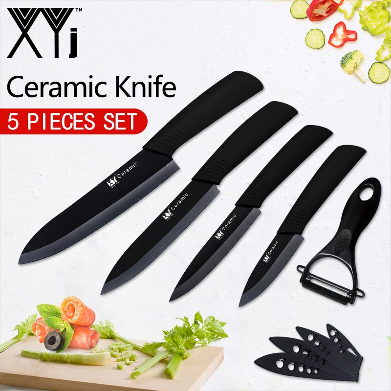 XYj Kitchen Knives New Arrival Paring Utility Slicing Chef Ceramic Knife Fruit Veg Meat Sushi Fish Sashim Cooking Tools + Peeler