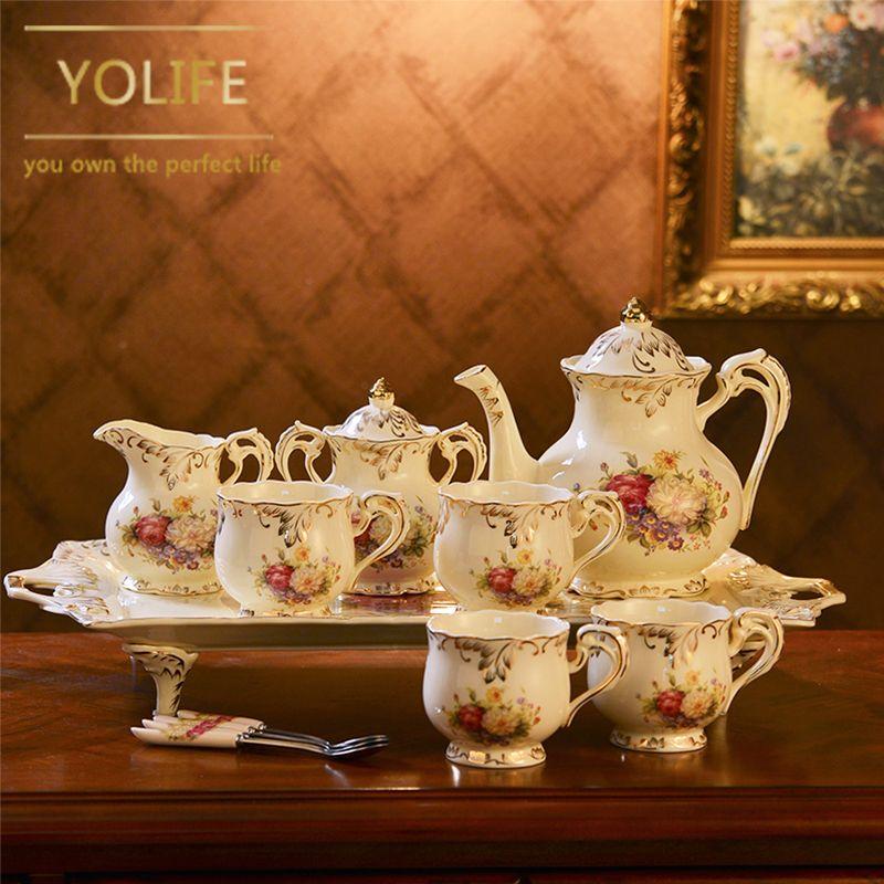 European Style Ivory Porcelain Teaware Service Tea Cup Tray Ceramic Tea Pot Milk Sugar Jug For Wedding Gifts
