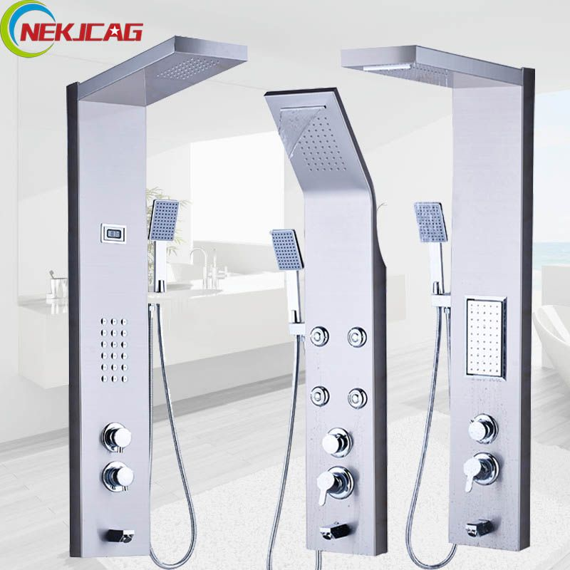 Thermostatic Rain Waterfall Shower Panel Stainless Steel Tower Shower Column Massage System Multifunction Outlet Water Faucet