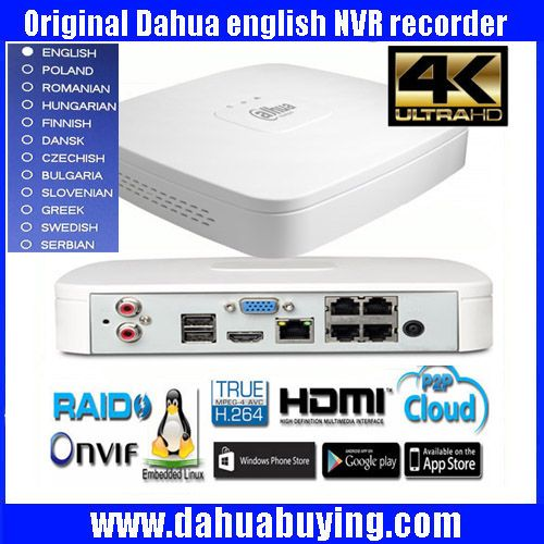 Original egnlish version Dahua DHI-NVR4104-P-4KS2 IP Network Video Recorders with up 4ch Full HD support NVR4104-P-4KS2