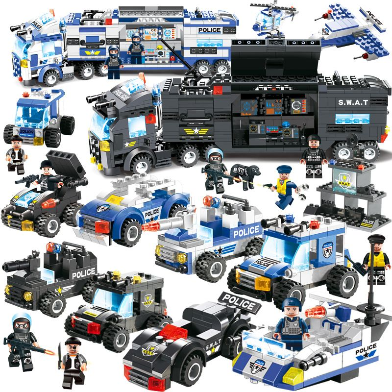 8 in 1 City Police Series Police Station Building Blocks DIY Bricks Educational Toys For Children Compatible with Legoed Blocks