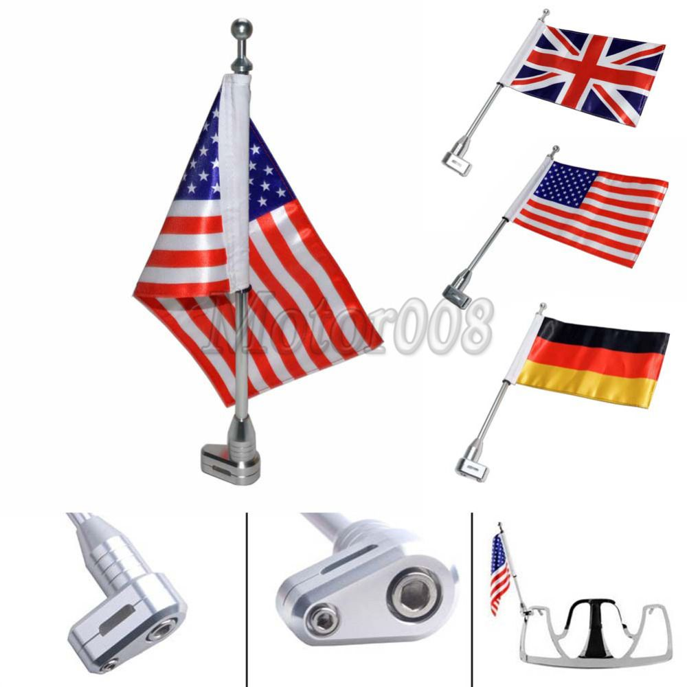 Motorcycle Flag Pole Luggage Rack Vertical American UK Genmany For Honda GoldWing GL1800 2001-2011