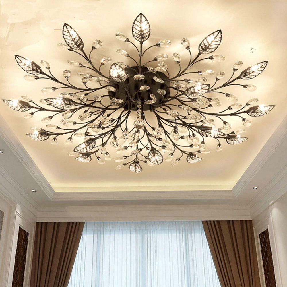 Moderne Flush Montieren Hause Gold Schwarz LED K9 Kristall Decke Kronleuchter Lichter Leuchte für Wohnzimmer Schlafzimmer Küche Lampen