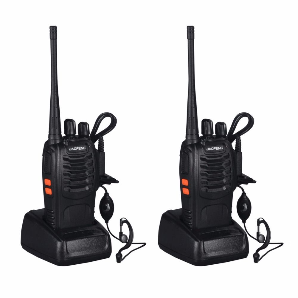 Baofeng BF-888S 2 pcs VHF/UHF FM Transceiver 400-470 MHz Rechargeable Talkie Walkie 5 W 16Ch Avec casque 2-way Radio