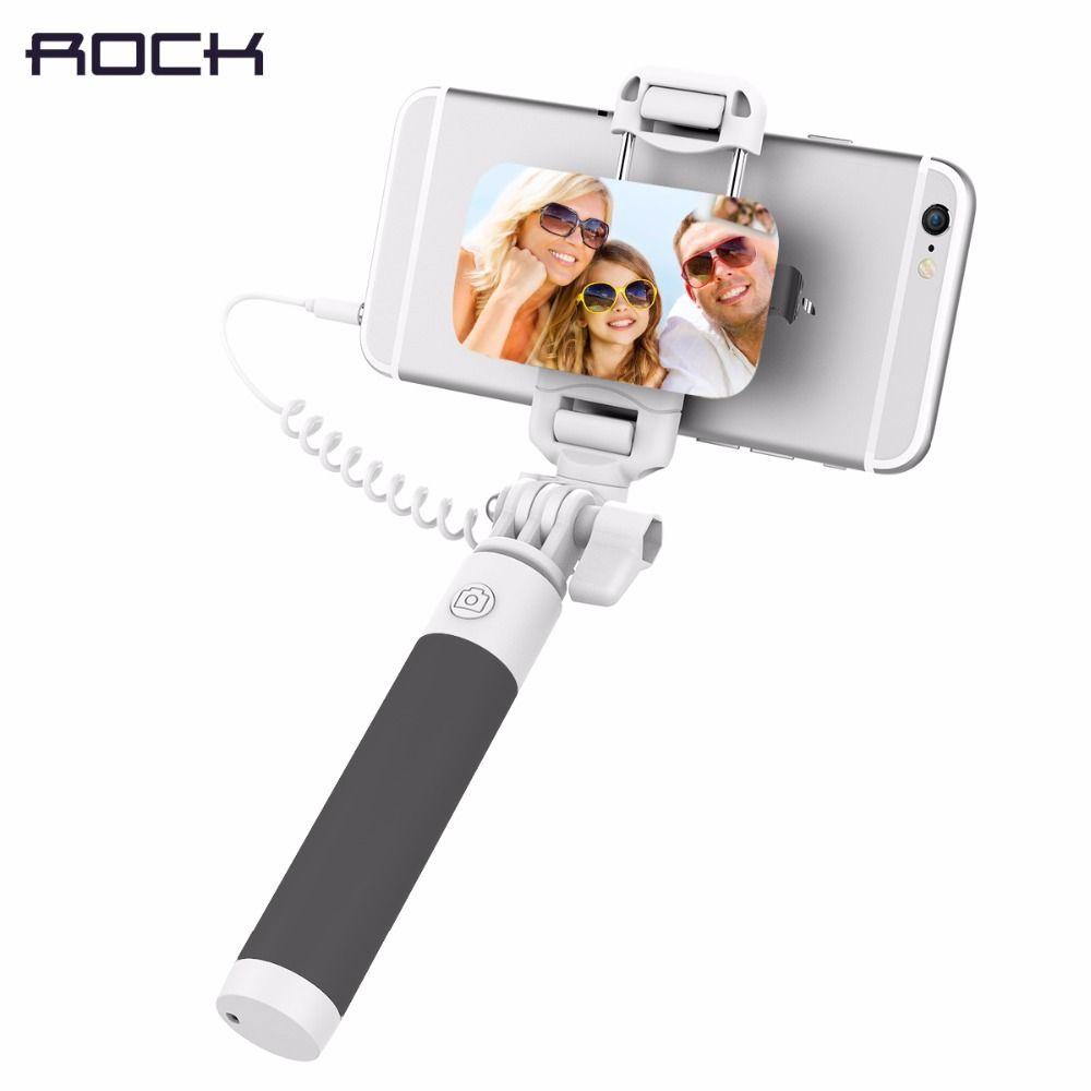 ROCK Mini Wired Selfie Stick mit 3,5mm Audio Kabel Faltbarer Einbeinstativ Erweiterbar Handheld Shutter für iphone 6 IOS Android