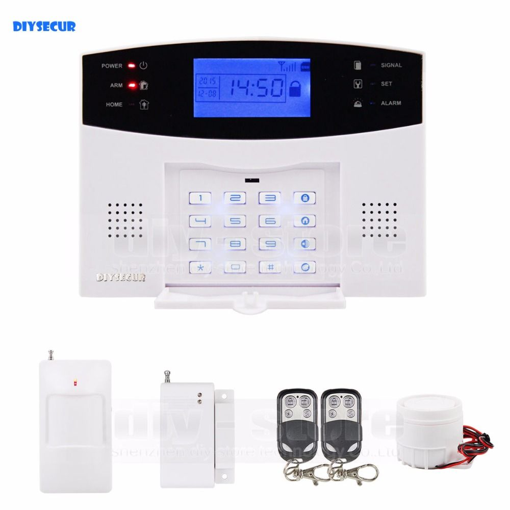 DIYSECUR Quality 433MHz Wireless Wired GSM/SMS/TEXT/Dial Security Alarm System Auto-Dial Defense Zone For Garage Storage M2B