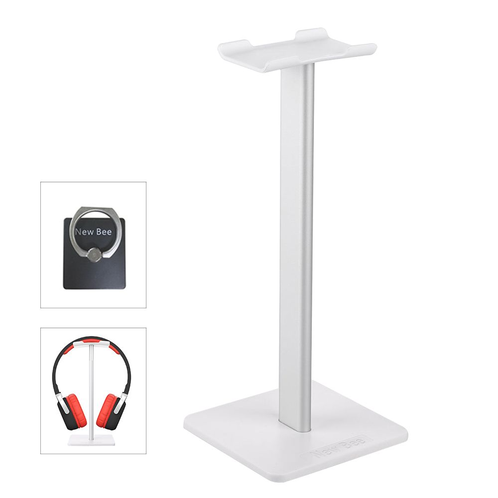 New Bee Fashion Display Headphone Stand Headset Holder Earphone Bracket Earbud Hanger Metal and Soft TUP for Headphone White