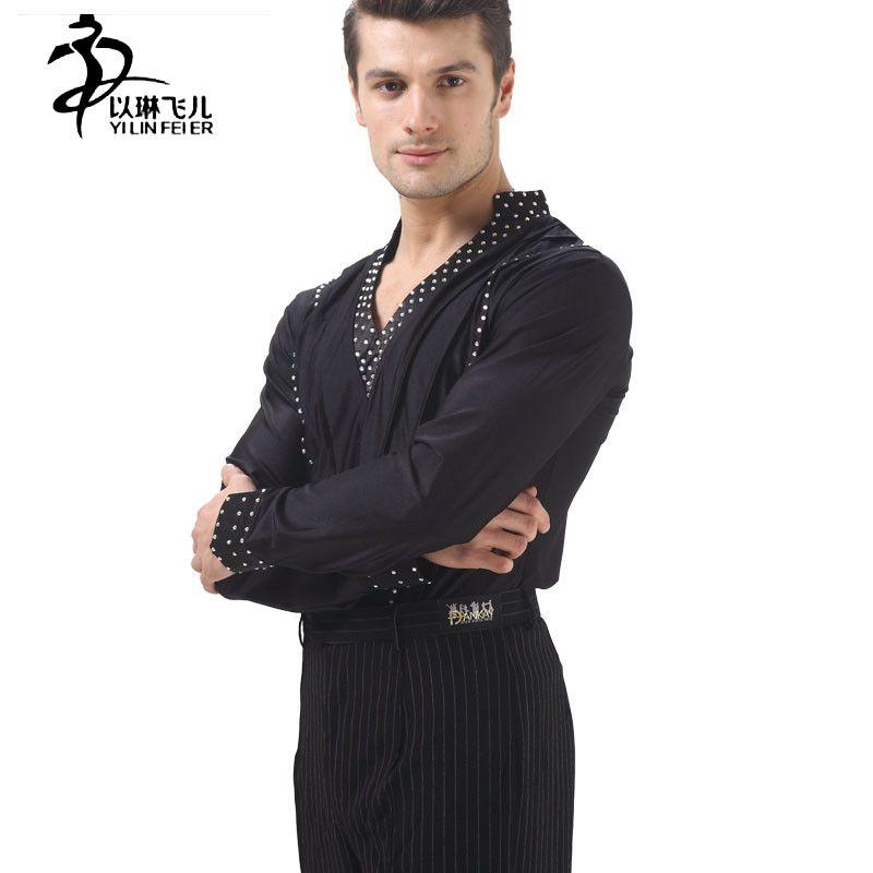 New mens black V-neck dance top Ballroom Modern Salsa Tango Samba Latin dance Competition Performance dancewear YM20