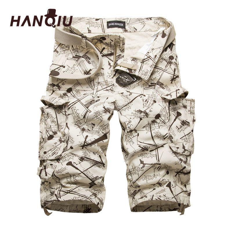 HANQIU Coton Cargo Shorts Mode Camouflage Hommes Short Multi-poches décontracté Camo Extérieur Péage Homme Pantalon Court