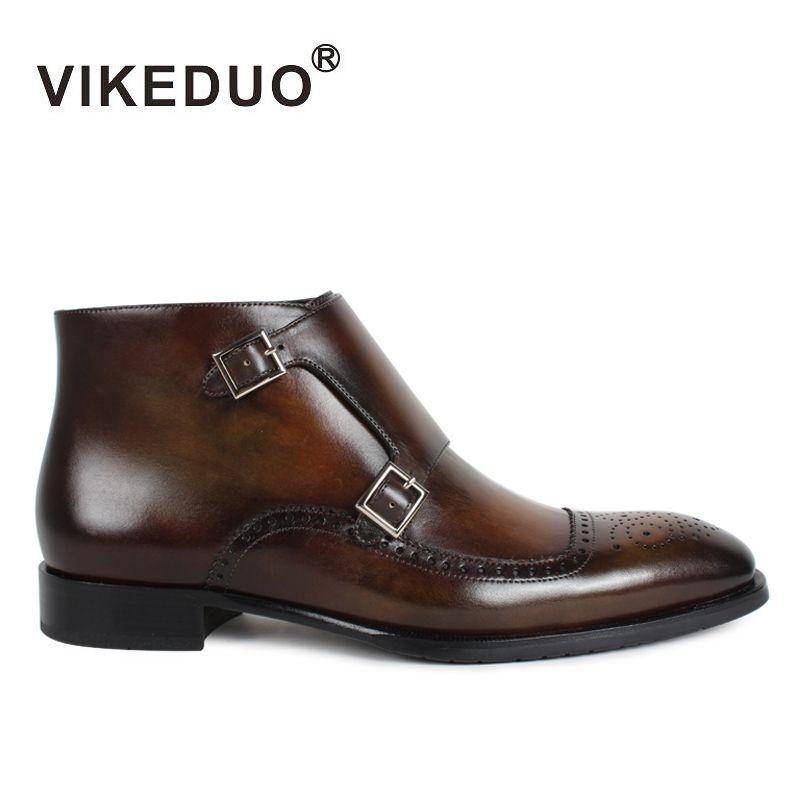 Vikeduo Classic Boots Men 2018 Patina Bespoke Ankle Boot Genuine Leather Handmade Brogue Monk Shoes Autumn Winter Footwear Botas