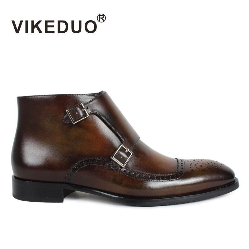Vikeduo Klassische Stiefel Männer 2018 Patina Bespoke Ankle Boot Echtes Leder Handgemachte Brogue Mönch Schuhe Herbst Winter Schuhe Botas