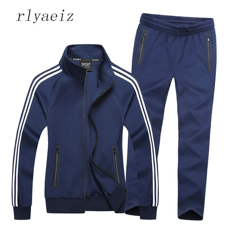 Rlyaeiz 2017 New Sportswear Men Spring Autumn Set Mens Tracksuit Striped Hoodies + Pants Men Casual Sporting Suits 6XL 7XL 8XL
