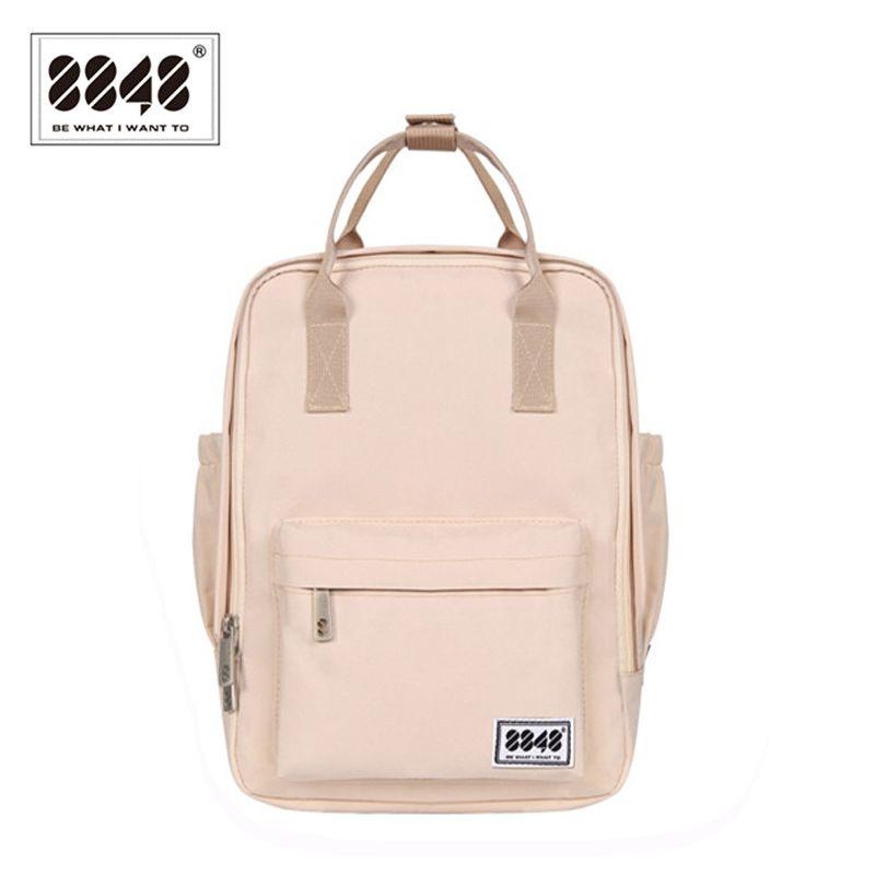 8848 Марка рюкзак для Для женщин ранцы для Колледж студент Водонепроницаемый Оксфорд моды светло-розовый сплошной рюкзак 003-008- 001