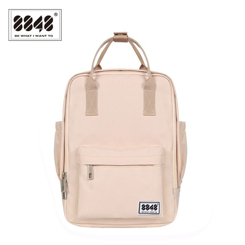 8848 Brand Backpack For Women Schoolbags For College Student Waterproof Oxford Fashion Light Pink Solid Knapsack 003-008-001