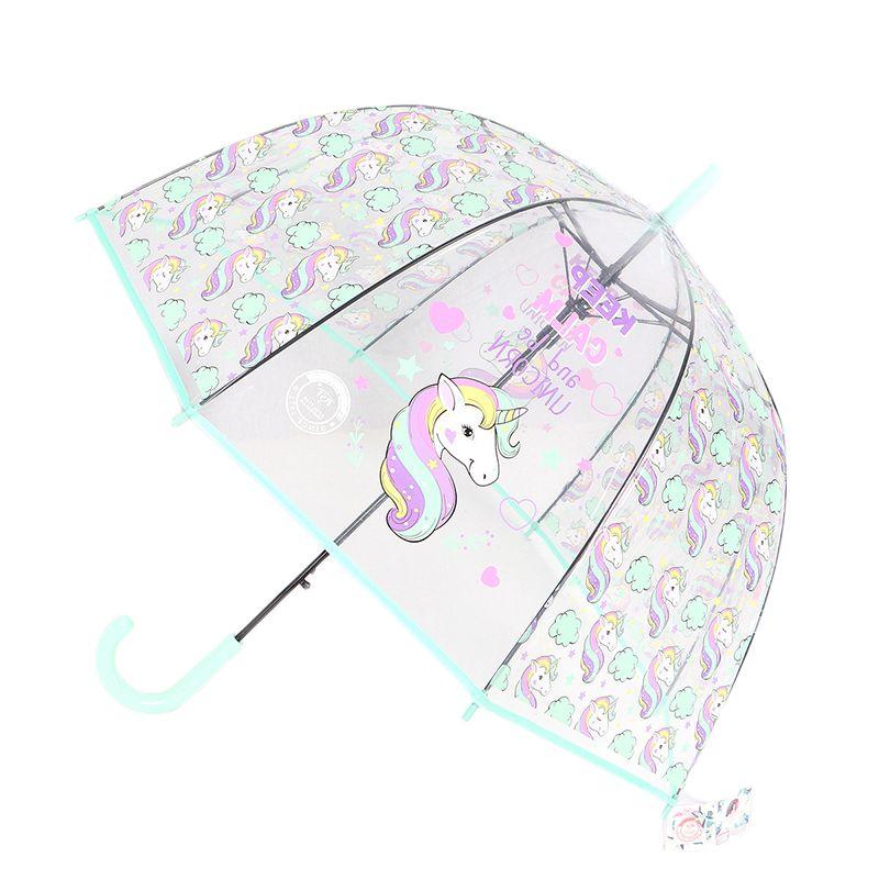 SAFEBET Kids Unicorn Umbrella Cute Transparent Umbrellas Apollo Semi Automatic Cartoon Penguin Children Umbrella Drop Shipping