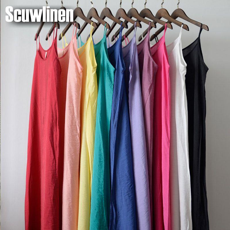 Scuwlinge Vestidos 2019 robe d'été solide multicolore soie naturelle coton glisse robes de grande taille Sexy basique robe de plage S200