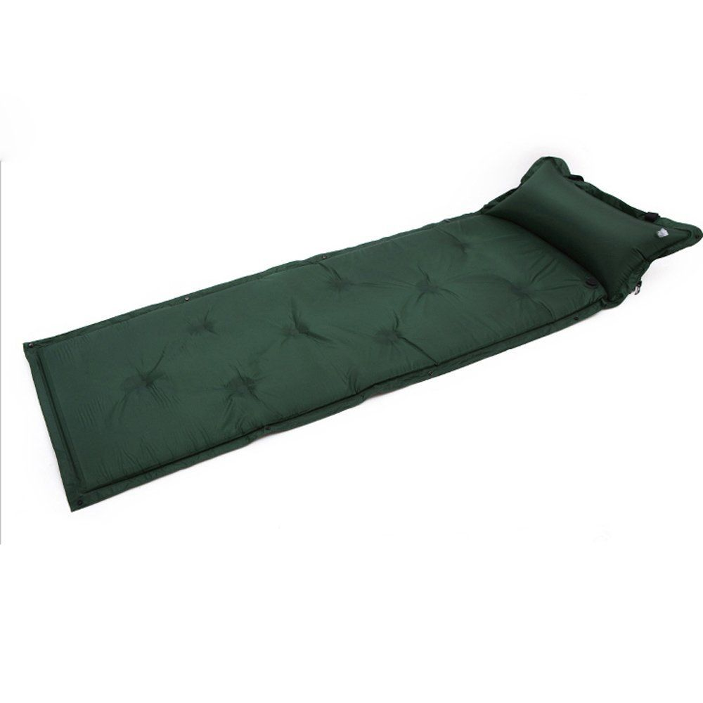 Waterproof Inflatable Self-Inflating Damp Proof Sleeping Pad Tent Air Mat Mattress with Pillow for Outdoor Camping Dark green