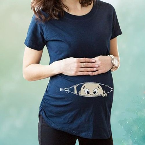 2016 New Comfortable Casual Baby Peeking Out Summer Short Sleeve T-shirt for Pregnant