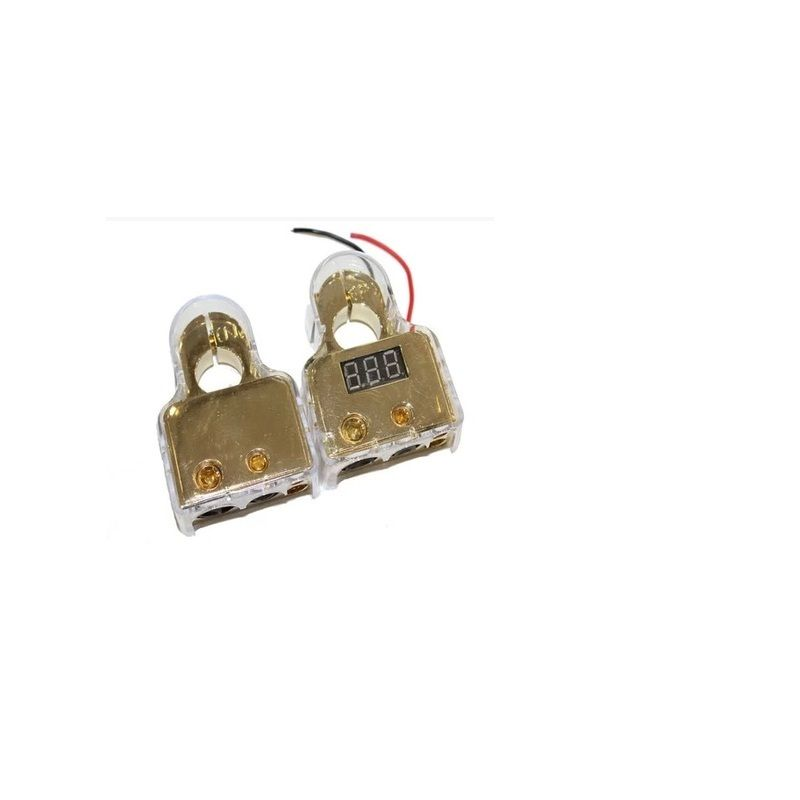 2Pcs 0/4/8 Awg Car Auto Positive Negative Battery Terminals Platinum Gold VOLTAGE DIGITAL LED DISPLAY FREE SHIPPING