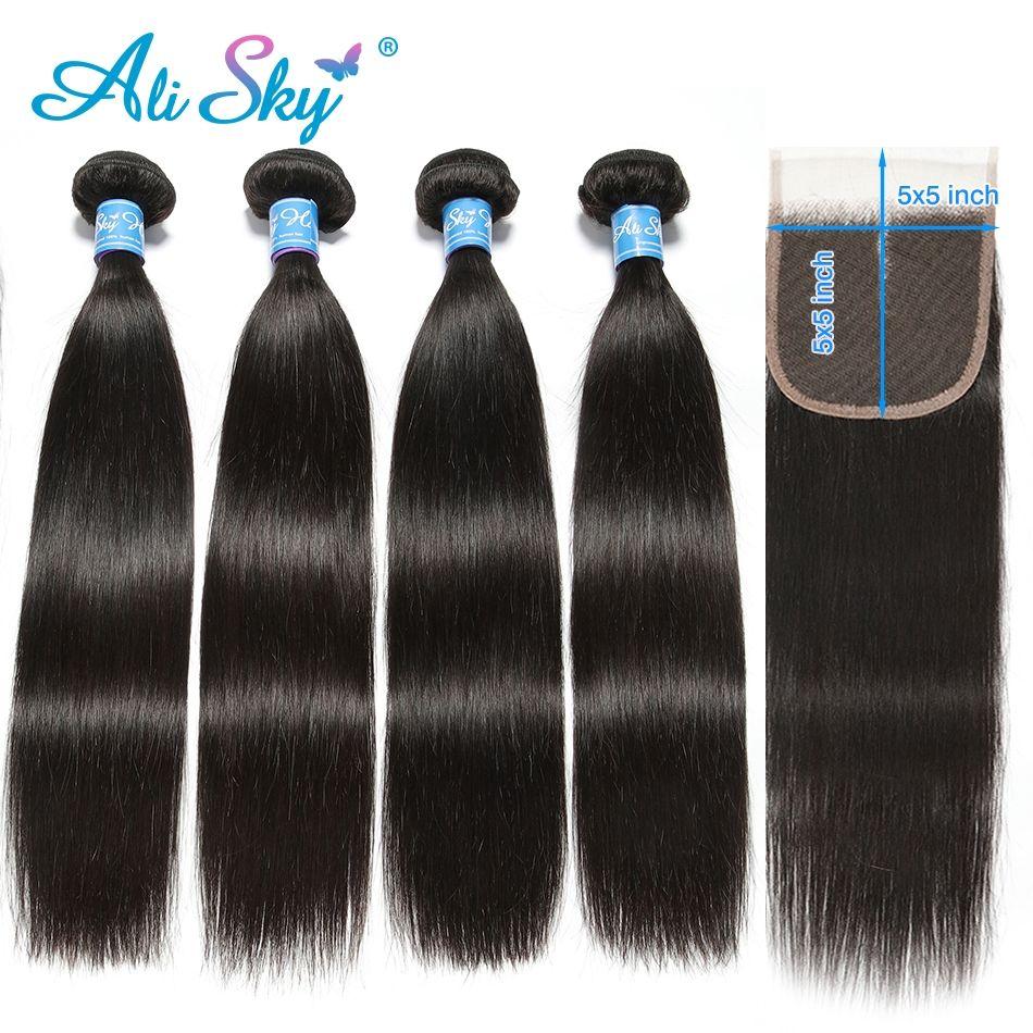 Ali Sky cheveux raides brésiliens naturel noir 100% cheveux humains armure faisceaux épais 8-26 pouces livraison gratuite peut être permé nonremy