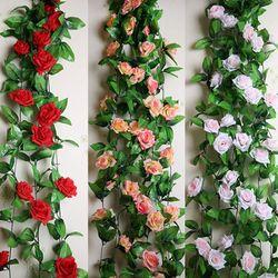2.3 M Soie Rose Fleur Lierre Vigne Hanging Garland Fleur Artificielle Parti/Accueil/Décoration De Mariage