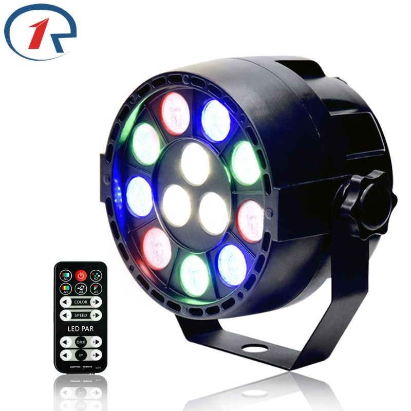 ZjRight 15W IR Remote RGBW 12LED Par lights dmx512 Projector stage light Sound Control night party dj disco effect Dyeing lights