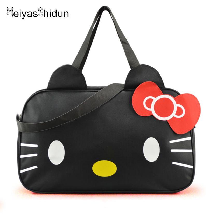 MeiyasShidun Women Travel Duffel Bag Hello Kitty Cartoon Handbags weekend trip tote Luggage Bags Bolsa Feminina Girls School Bag