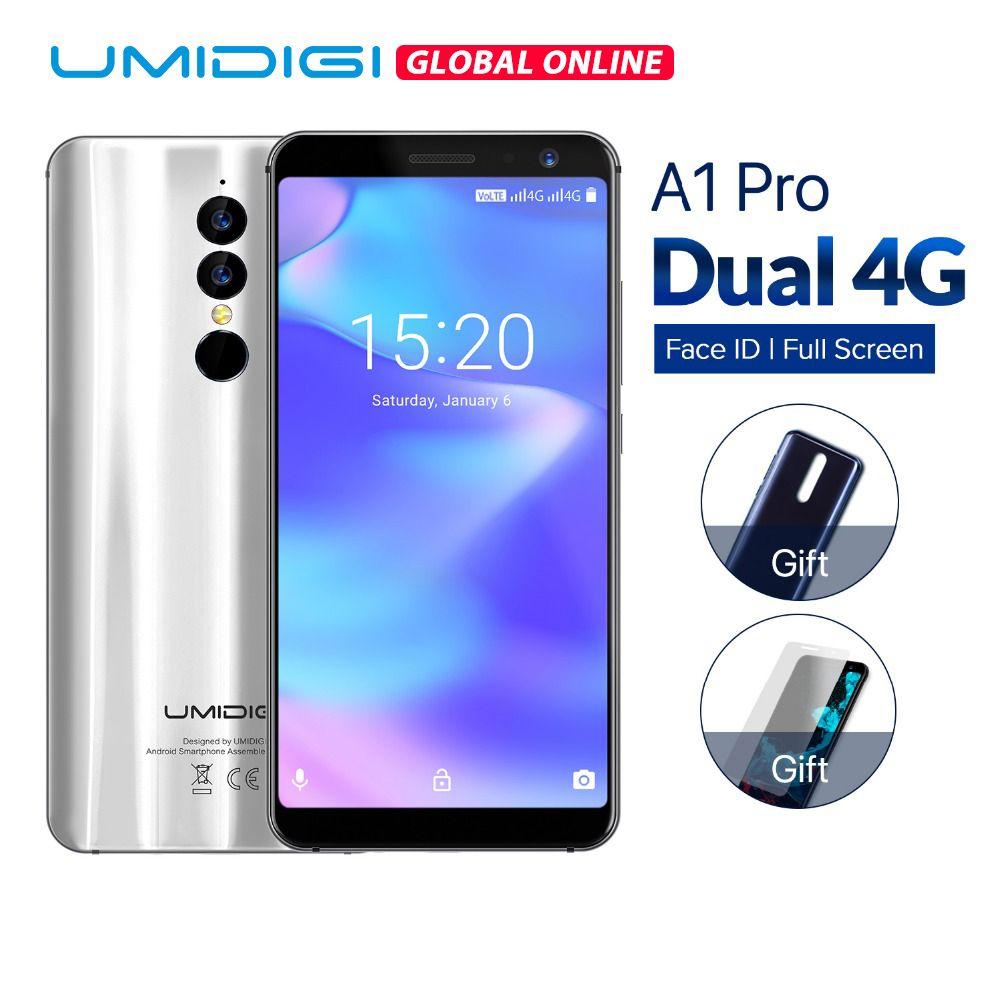 UMIDIGI A1 Pro Android 8.1 Global version mobile phone 5.5 inch 3GB+16GB Quad Core cellphone 13MP 5MP Dual SIM 4G LTE smartphone