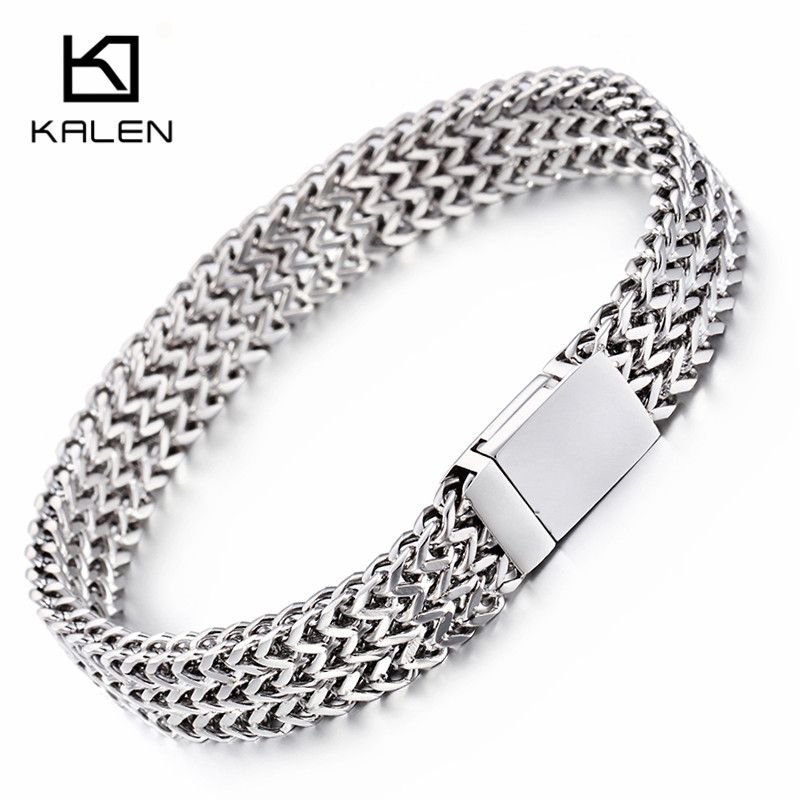 Kalen Men's 22cm New Mesh Bracelets Stainless Steel Jewelry High Polished Slight Hand Chain Cheap Accessories Cool Gifts