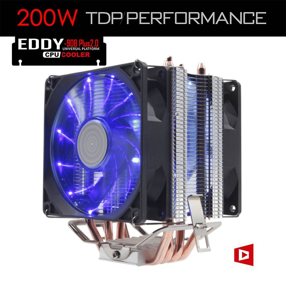 ALSEYE 4 Heatpipe Radiator CPU Cooler TDP 200W with Dual LED Quite Fan 92mm (EDDY-90B-Plus2.0)