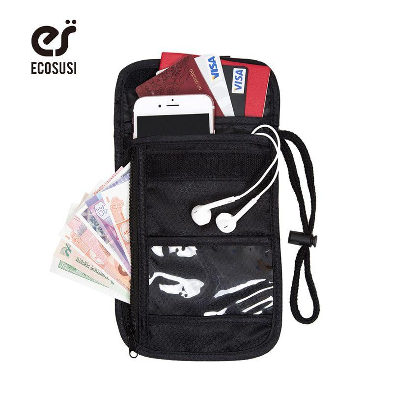 2018 Caché Voyage Cou Portefeuille-Passeport Titulaire RFID Sécurité-Cou Stash Ceinture Poche Carte Sac Réglable Piqûre Bourse