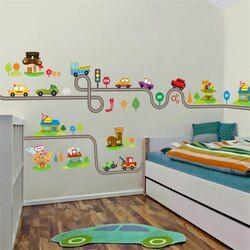 Kartun Mobil Jalan Raya Track Dinding Stiker Untuk Anak-anak Kamar Stiker anak-anak Bermain Room Bedroom Decor Wall Art Decals