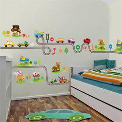 Mobil Kartun Jalur Jalan Raya Stiker Dinding untuk Kamar Anak-anak Stiker Bermain Anak-anak Kamar Tidur Dekorasi Dinding Seni Decals