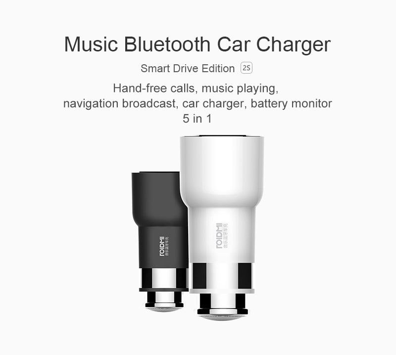 Original Xiaomi ROIDMI/ROIDMI 2S 5V 3.8A Bluetooth Handfree Car Charger With Music Player FM transmitters For iPhone iOS/Android