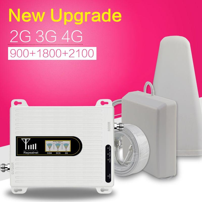 Amplificateur de Signal de téléphone portable Triple bande 2G 3G 4G 70dB GSM 900 LTE 1800 WCDMA 2100 mhz ensemble d'antenne de répéteur de Signal cellulaire Mobile