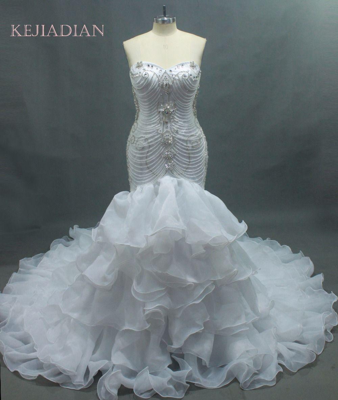 Cristales de lujo sirena vestido de boda nupcial Caro vestido de noiva robe de mariage vestido de noiva curto 2017 Customize