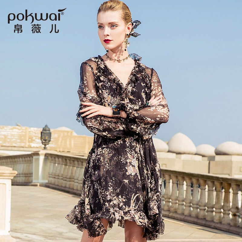 POKWAI Casual Sexy V-Neck Floral Women Summer Silk Mini Dress 2018 New Fashion Wrist Sleeve Empire Ruffles Sheath Dresses