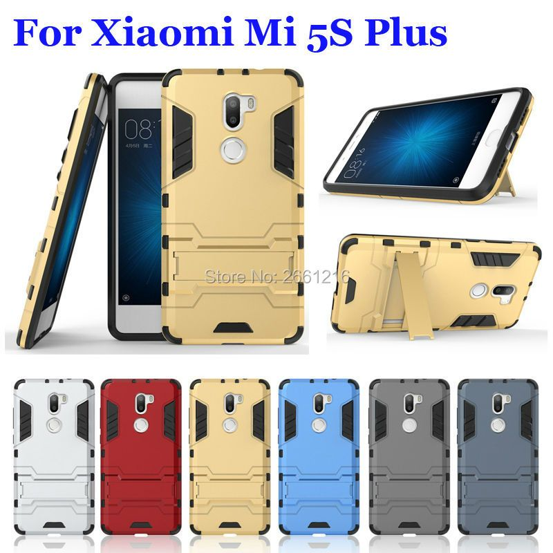 For Mi 5S Plus Hybrid Soft TPU + Hard PC Dual Layer Case Shockproof Bumper Stand Holder Cover For Xiaomi Mi 5S Plus