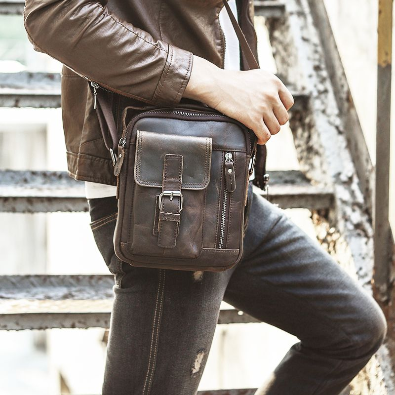 Quality Original Leather Male Casual Shoulder Messenger bag Cowhide Fashion Cross-body Bag 8