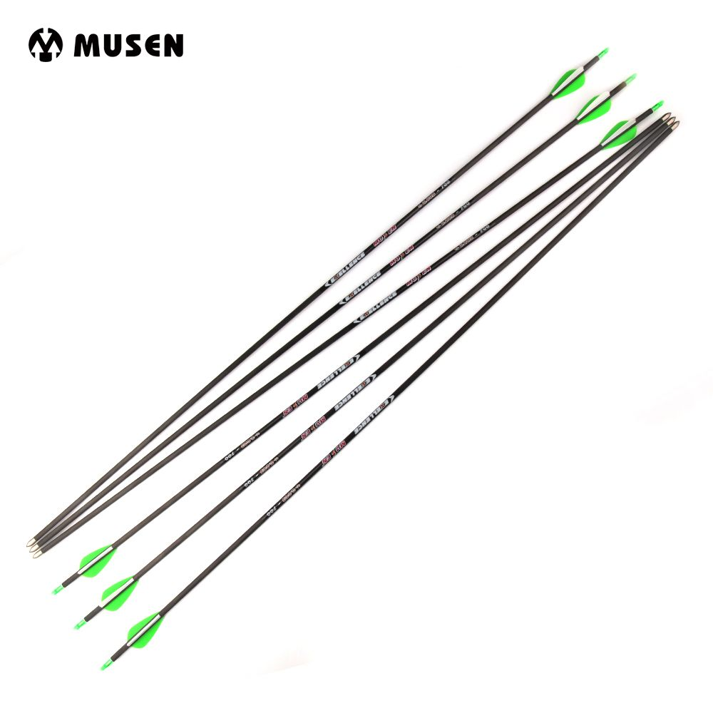6/12/24 pcs Pure Carbon Arrow Length 30 Inches Spine 700 Diameter 5.6 mm for Compound/Recurve Bow Archery Hunting